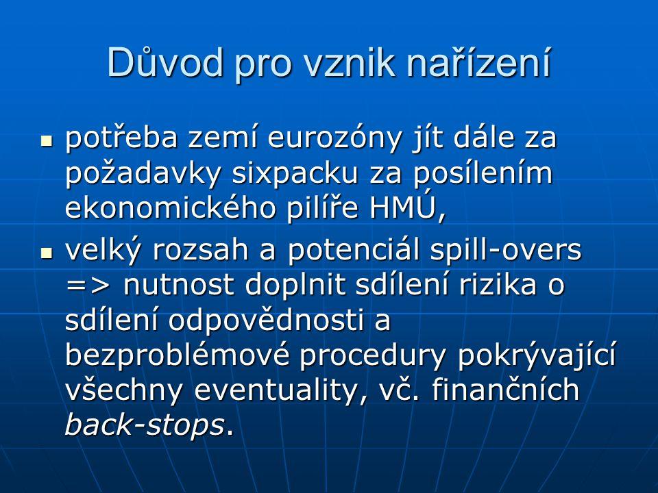 Důvod pro vznik nařízení potřeba zemí eurozóny jít dále za požadavky sixpacku za posílením ekonomického pilíře HMÚ, potřeba zemí eurozóny jít dále za požadavky sixpacku za posílením ekonomického pilíře HMÚ, velký rozsah a potenciál spill-overs => nutnost doplnit sdílení rizika o sdílení odpovědnosti a bezproblémové procedury pokrývající všechny eventuality, vč.