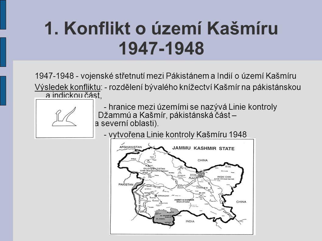 1. Konflikt o území Kašmíru 1947-1948 1947-1948 - vojenské střetnutí mezi Pákistánem a Indií o území Kašmíru Výsledek konfliktu: - rozdělení bývalého