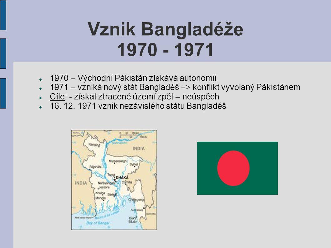 Kárgilská válka květen – červen 1999 - Ozbrojený konflikt mezi Indií a Pakistánem - Příčina - průnik pákistánských vojáků a kašmírských bojovníků za linii kontroly - Indové zaútočili – pákistánci zpět na své území - Válka ve vysokohorských podmínkách – boj o ovládnutí ledovce Siačen.