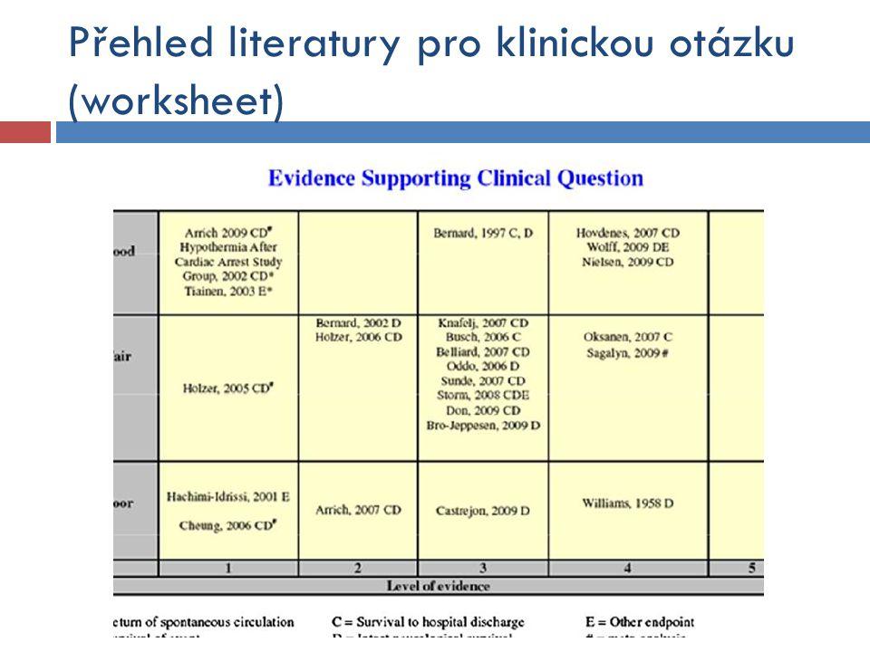 Přehled literatury pro klinickou otázku (worksheet)