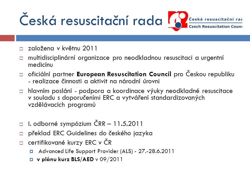 Česká resuscitační rada  založena v květnu 2011  multidisciplinární organizace pro neodkladnou resuscitaci a urgentní medicínu  oficiální partner E