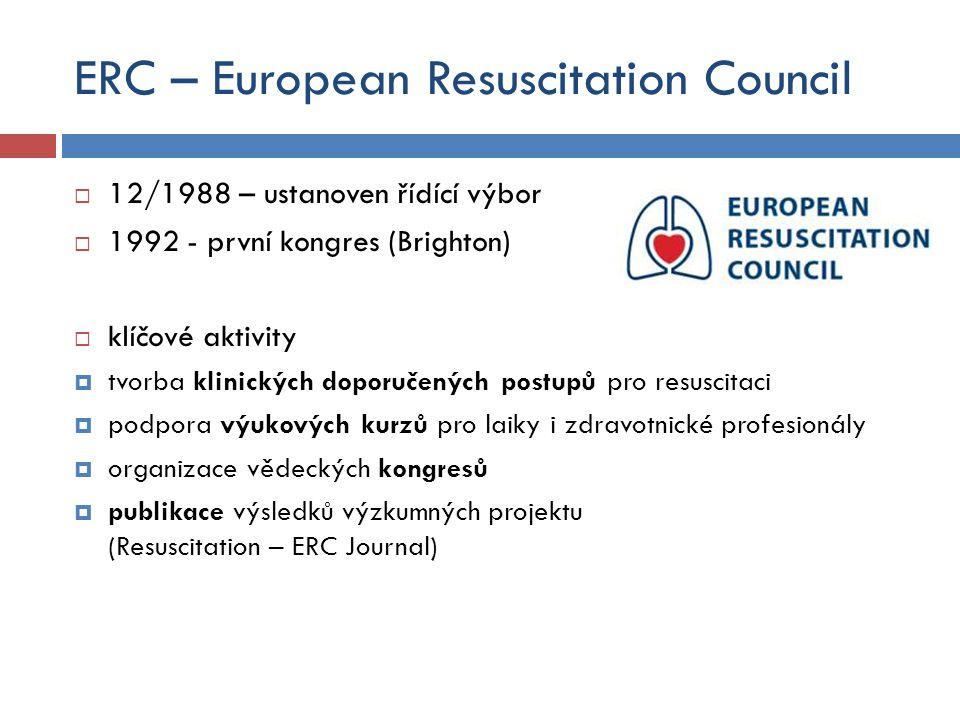 ERC – European Resuscitation Council  12/1988 – ustanoven řídící výbor  1992 - první kongres (Brighton)  klíčové aktivity  tvorba klinických dopor