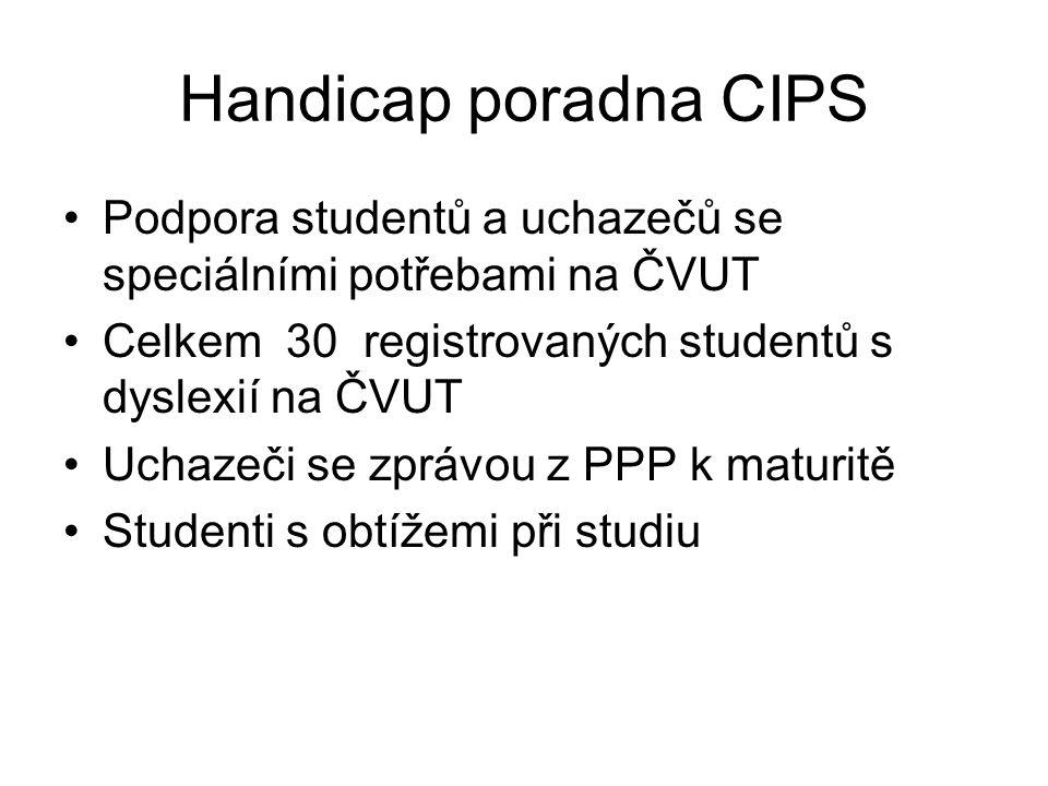 Handicap poradna CIPS Podpora studentů a uchazečů se speciálními potřebami na ČVUT Celkem 30 registrovaných studentů s dyslexií na ČVUT Uchazeči se zp