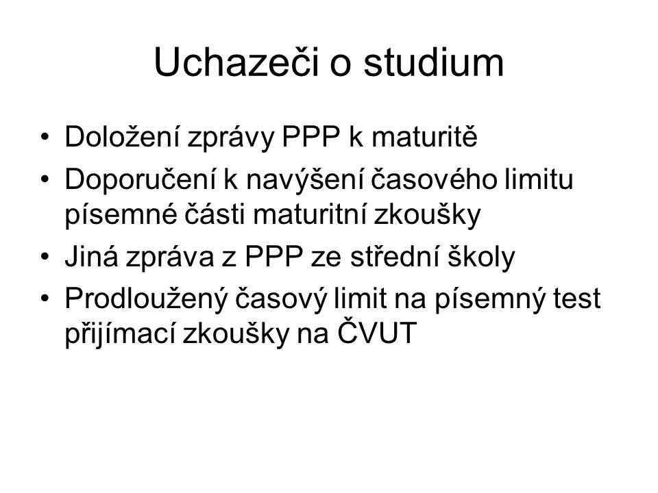 Uchazeči o studium Doložení zprávy PPP k maturitě Doporučení k navýšení časového limitu písemné části maturitní zkoušky Jiná zpráva z PPP ze střední š