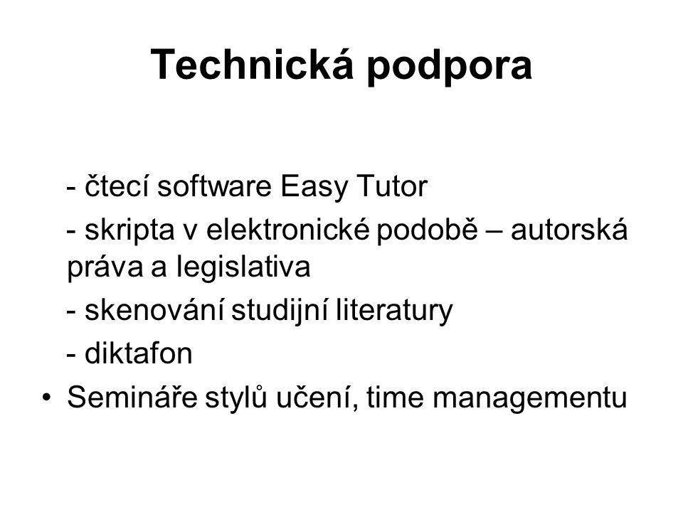Technická podpora - čtecí software Easy Tutor - skripta v elektronické podobě – autorská práva a legislativa - skenování studijní literatury - diktafo