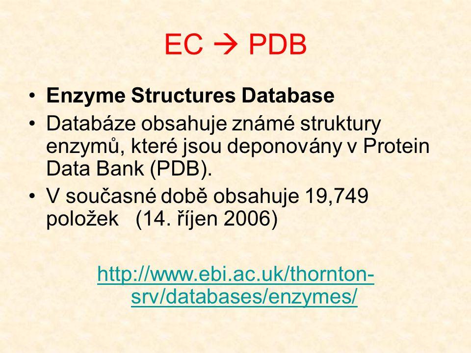 EC  PDB Enzyme Structures Database Databáze obsahuje známé struktury enzymů, které jsou deponovány v Protein Data Bank (PDB). V současné době obsahuj