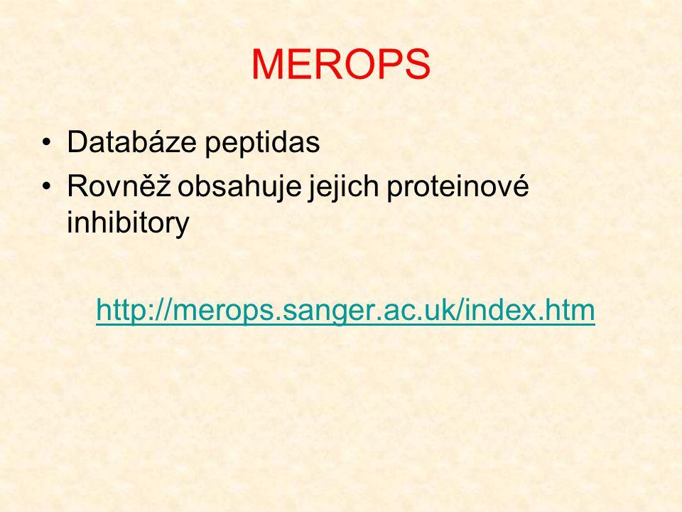 MEROPS Databáze peptidas Rovněž obsahuje jejich proteinové inhibitory http://merops.sanger.ac.uk/index.htm