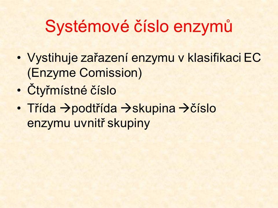 Systémové číslo enzymů Vystihuje zařazení enzymu v klasifikaci EC (Enzyme Comission) Čtyřmístné číslo Třída  podtřída  skupina  číslo enzymu uvnitř