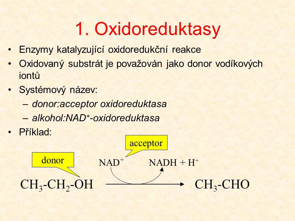 1. Oxidoreduktasy Enzymy katalyzující oxidoredukční reakce Oxidovaný substrát je považován jako donor vodíkových iontů Systémový název: –donor:accepto