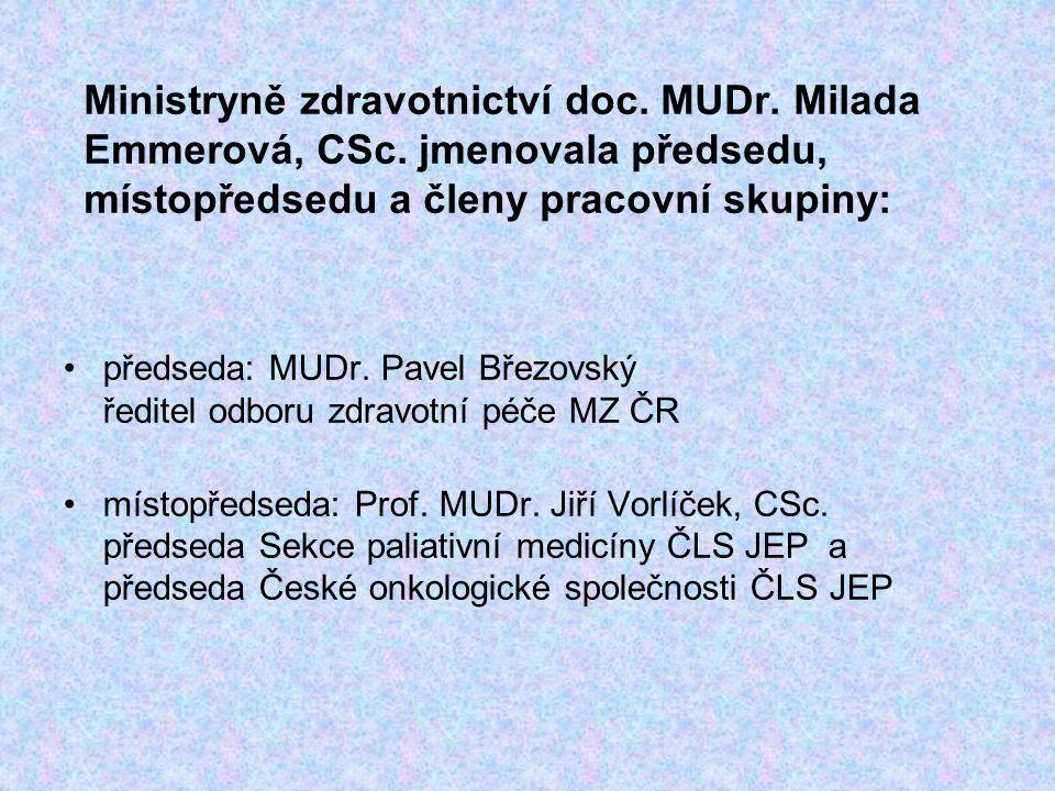 Ministryně zdravotnictví doc. MUDr. Milada Emmerová, CSc. jmenovala předsedu, místopředsedu a členy pracovní skupiny: předseda: MUDr. Pavel Březovský