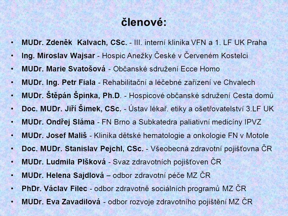 členové: MUDr.Zdeněk Kalvach, CSc. - III. interní klinika VFN a 1.