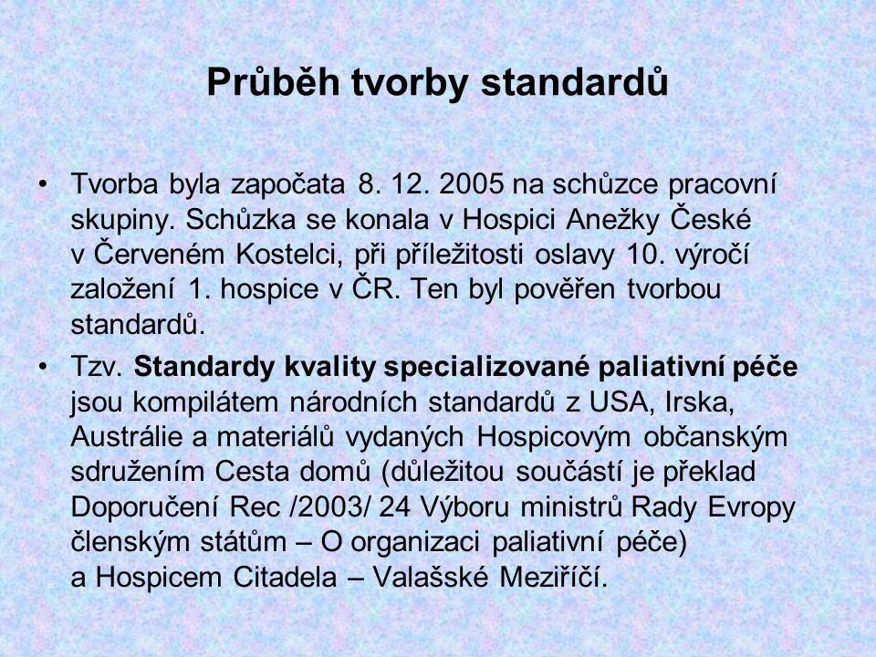 Průběh tvorby standardů Tvorba byla započata 8. 12. 2005 na schůzce pracovní skupiny. Schůzka se konala v Hospici Anežky České v Červeném Kostelci, př