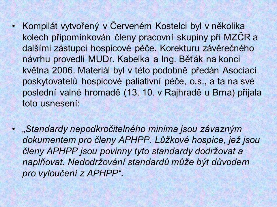 Kompilát vytvořený v Červeném Kostelci byl v několika kolech připomínkován členy pracovní skupiny při MZČR a dalšími zástupci hospicové péče. Korektur