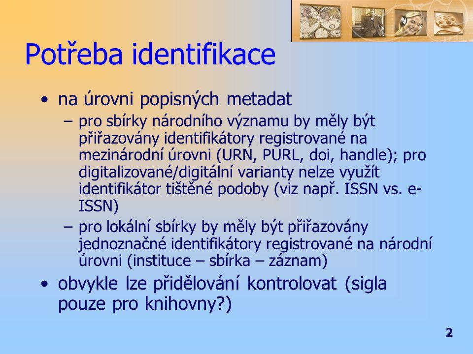 3 Potřeba identifikace na úrovni ostatních metadat a objektů –jednoznačnost identifikátoru v rámci repozitáře –jednoznačnost identifikátoru v národním rámci –délka identifikátoru (CRC32 vs.