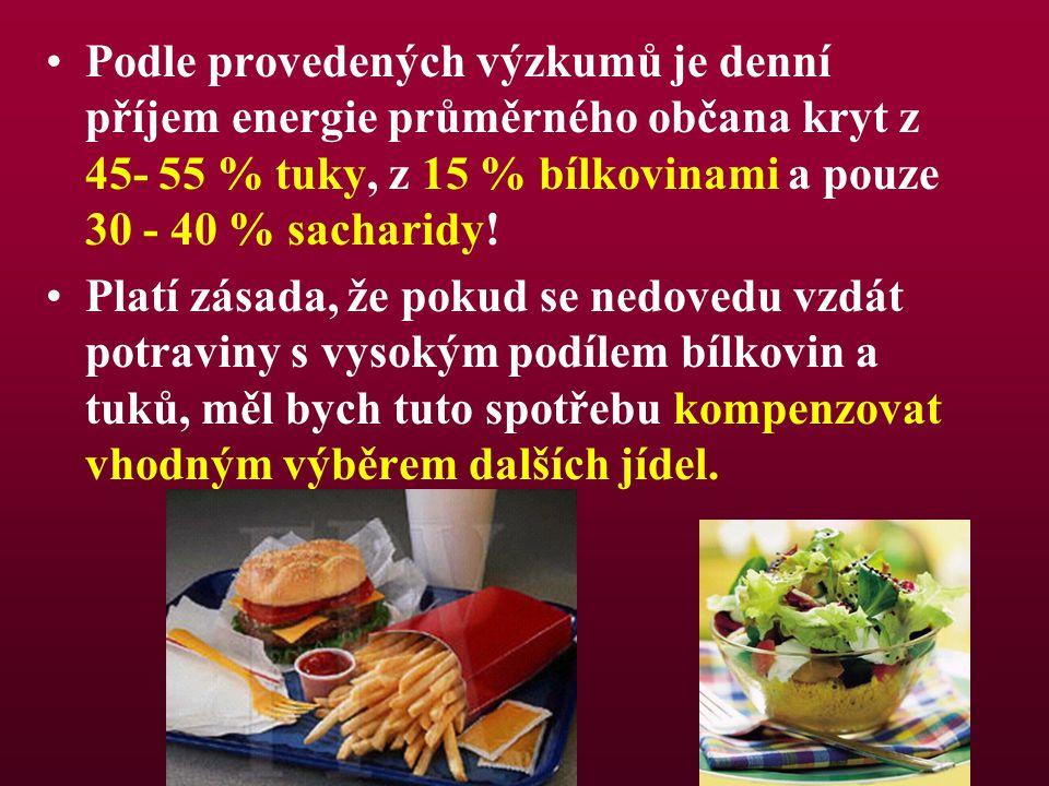Podle provedených výzkumů je denní příjem energie průměrného občana kryt z 45- 55 % tuky, z 15 % bílkovinami a pouze 30 - 40 % sacharidy! Platí zásada