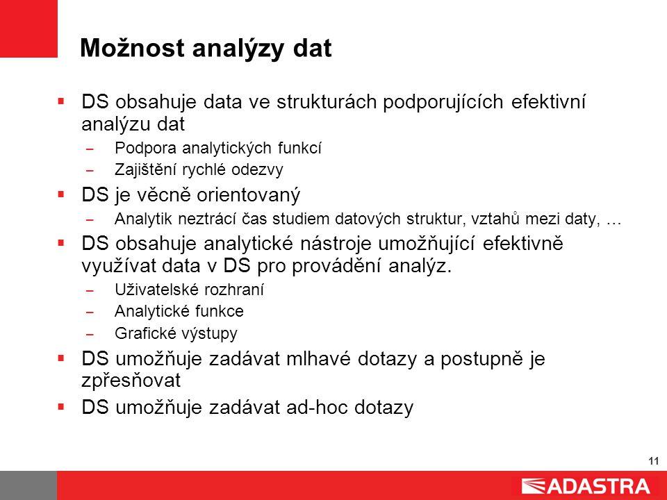 11 Možnost analýzy dat  DS obsahuje data ve strukturách podporujících efektivní analýzu dat ̶ Podpora analytických funkcí ̶ Zajištění rychlé odezvy 