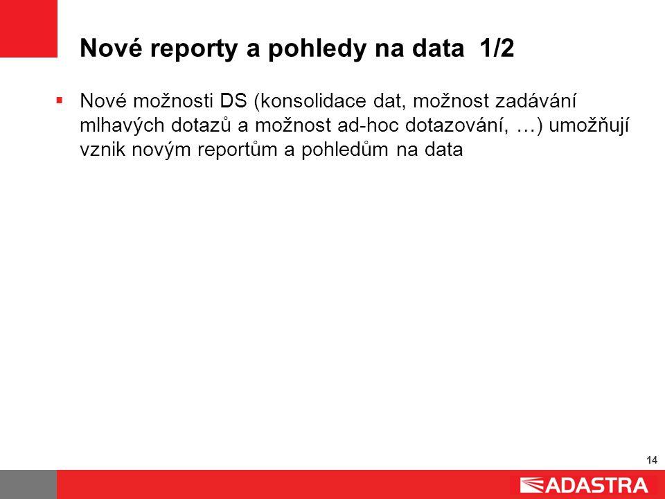 14 Nové reporty a pohledy na data 1/2  Nové možnosti DS (konsolidace dat, možnost zadávání mlhavých dotazů a možnost ad-hoc dotazování, …) umožňují v