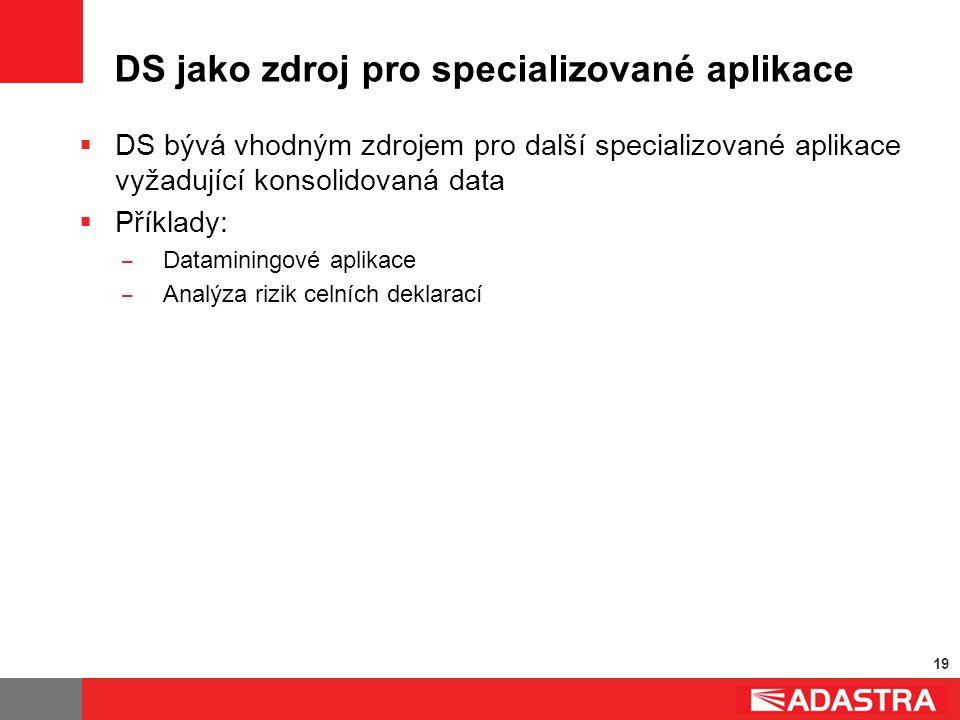 19 DS jako zdroj pro specializované aplikace  DS bývá vhodným zdrojem pro další specializované aplikace vyžadující konsolidovaná data  Příklady: ̶ D