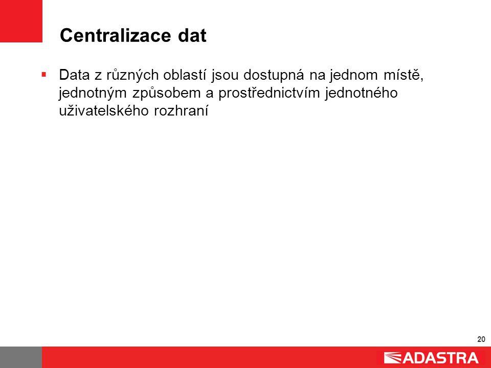 20 Centralizace dat  Data z různých oblastí jsou dostupná na jednom místě, jednotným způsobem a prostřednictvím jednotného uživatelského rozhraní