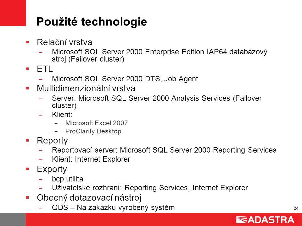 24 Použité technologie  Relační vrstva ̶ Microsoft SQL Server 2000 Enterprise Edition IAP64 databázový stroj (Failover cluster)  ETL ̶ Microsoft SQL