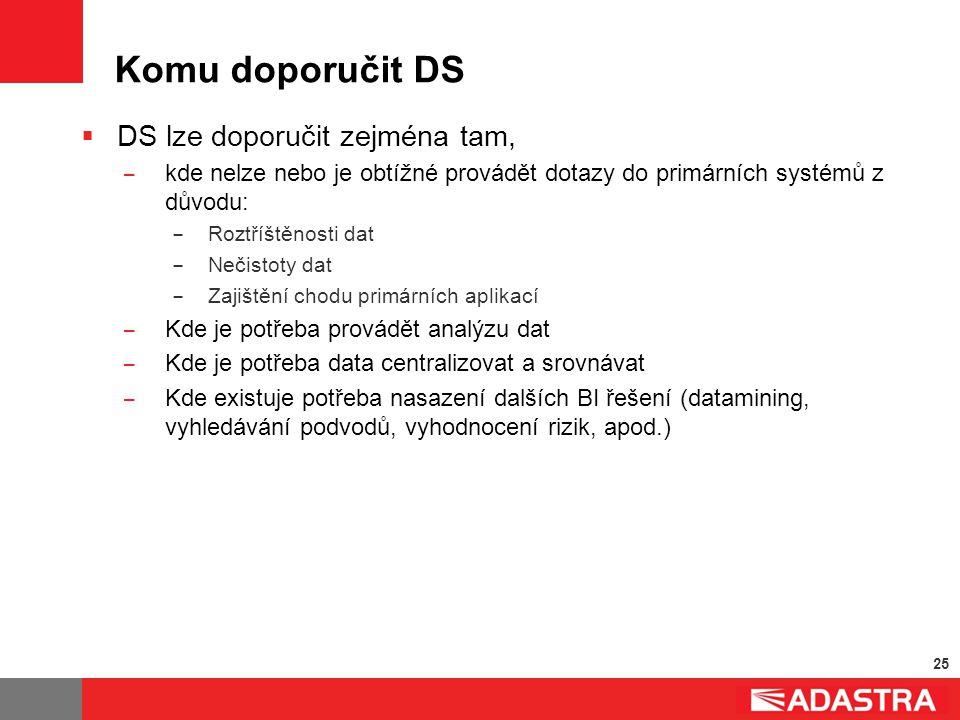 25 Komu doporučit DS  DS lze doporučit zejména tam, ̶ kde nelze nebo je obtížné provádět dotazy do primárních systémů z důvodu: ̶ Roztříštěnosti dat