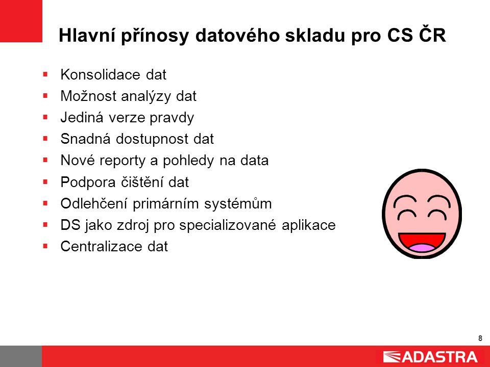 8 Hlavní přínosy datového skladu pro CS ČR  Konsolidace dat  Možnost analýzy dat  Jediná verze pravdy  Snadná dostupnost dat  Nové reporty a pohl