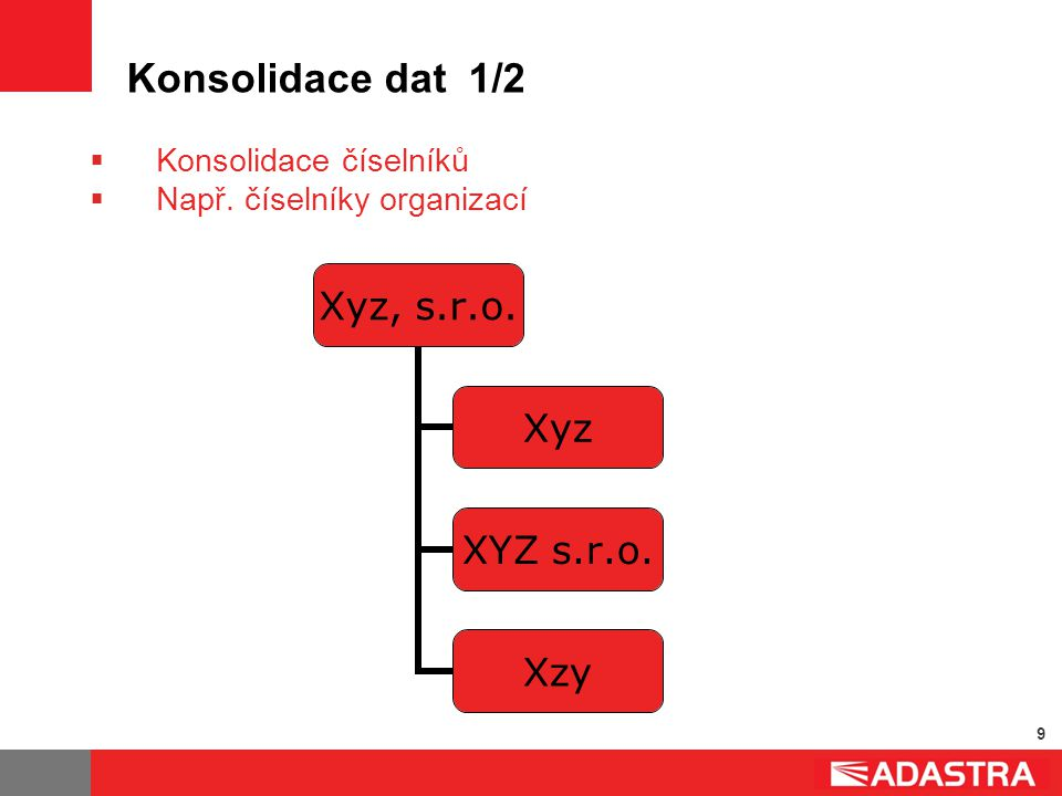 9 Konsolidace dat 1/2 Xyz, s.r.o. Xyz XYZ s.r.o. Xzy  Konsolidace číselníků  Např. číselníky organizací