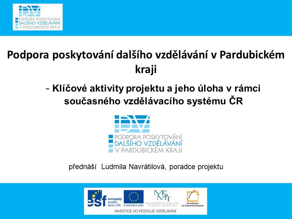 Podpora poskytování dalšího vzdělávání v Pardubickém kraji - Klíčové aktivity projektu a jeho úloha v rámci současného vzdělávacího systému ČR přednáš