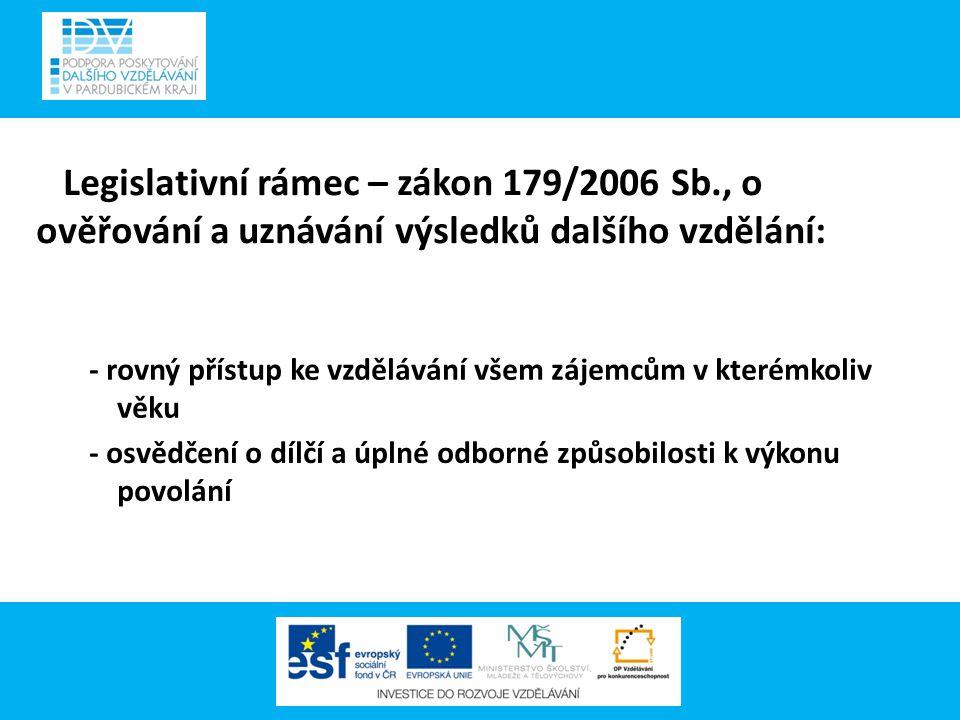 Legislativní rámec – zákon 179/2006 Sb., o ověřování a uznávání výsledků dalšího vzdělání: - rovný přístup ke vzdělávání všem zájemcům v kterémkoliv v