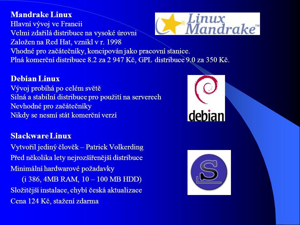 Distribuce Linuxu Linux je šířen v tzv. distribucích - verzích Red Hat Linux Hlavní vývoj v USA Nejrozšířenější distribuce v ČR Jako první měla instal