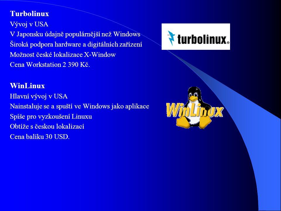 Mandrake Linux Hlavní vývoj ve Francii Velmi zdařilá distribuce na vysoké úrovni Založen na Red Hat, vznikl v r. 1998 Vhodné pro začátečníky, koncipov