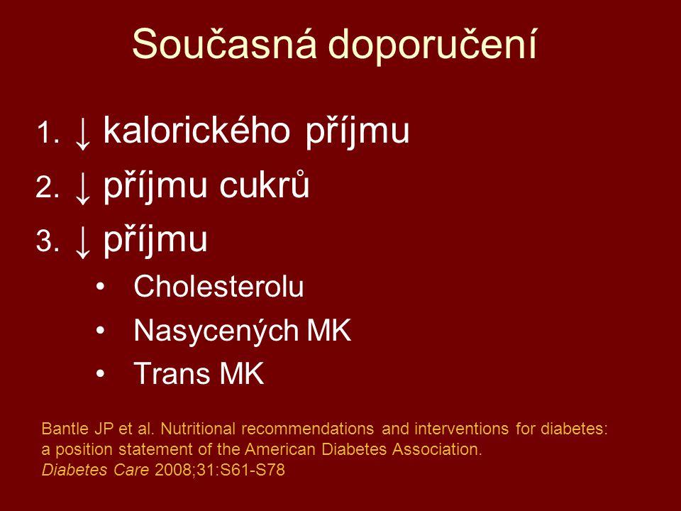 Současná doporučení 1. ↓ kalorického příjmu 2. ↓ příjmu cukrů 3. ↓ příjmu Cholesterolu Nasycených MK Trans MK Bantle JP et al. Nutritional recommendat