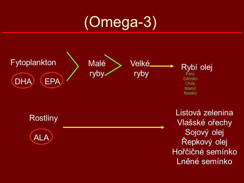 (Omega-3) Fytoplankton DHAEPA Malé ryby Rybí olej Rostliny ALA Listová zelenina Vlašské ořechy Sojový olej Řepkový olej Hořčičné semínko Lněné semínko