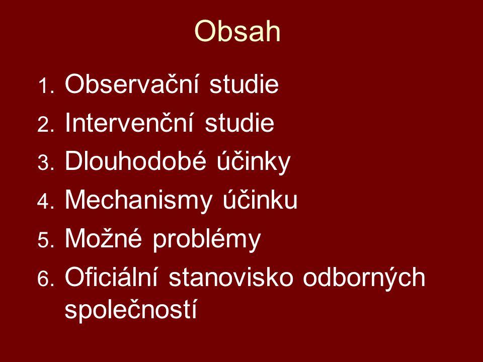 Obsah 1. Observační studie 2. Intervenční studie 3. Dlouhodobé účinky 4. Mechanismy účinku 5. Možné problémy 6. Oficiální stanovisko odborných společn