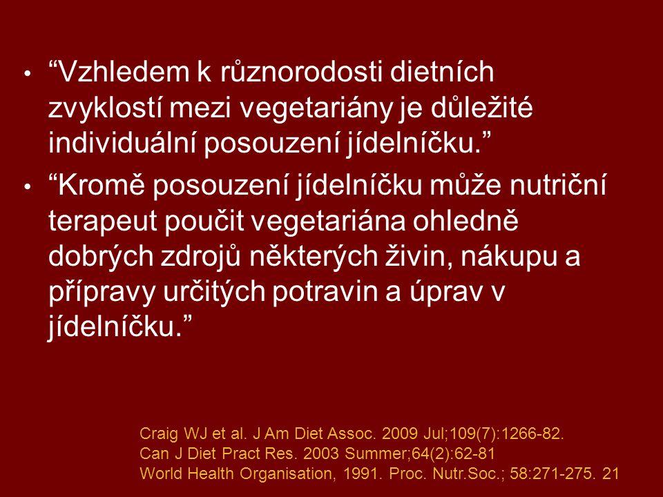 """""""Vzhledem k různorodosti dietních zvyklostí mezi vegetariány je důležité individuální posouzení jídelníčku."""" """"Kromě posouzení jídelníčku může nutriční"""