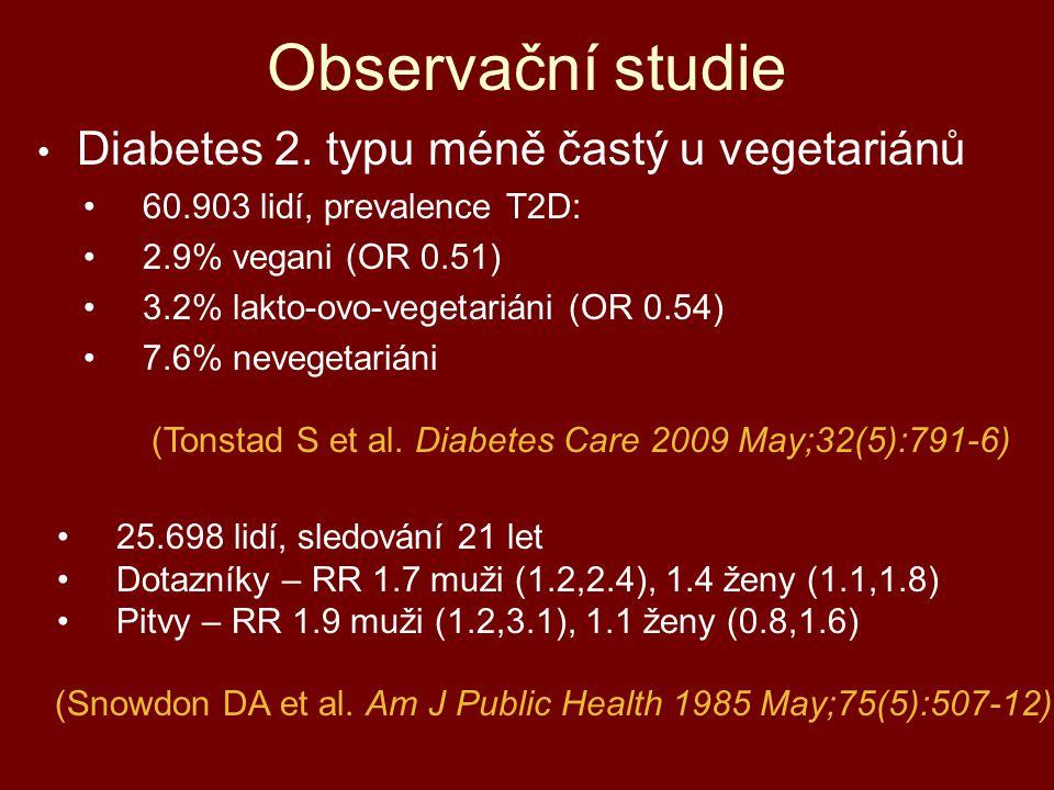 Observační studie Diabetes 2. typu méně častý u vegetariánů 60.903 lidí, prevalence T2D: 2.9% vegani (OR 0.51) 3.2% lakto-ovo-vegetariáni (OR 0.54) 7.