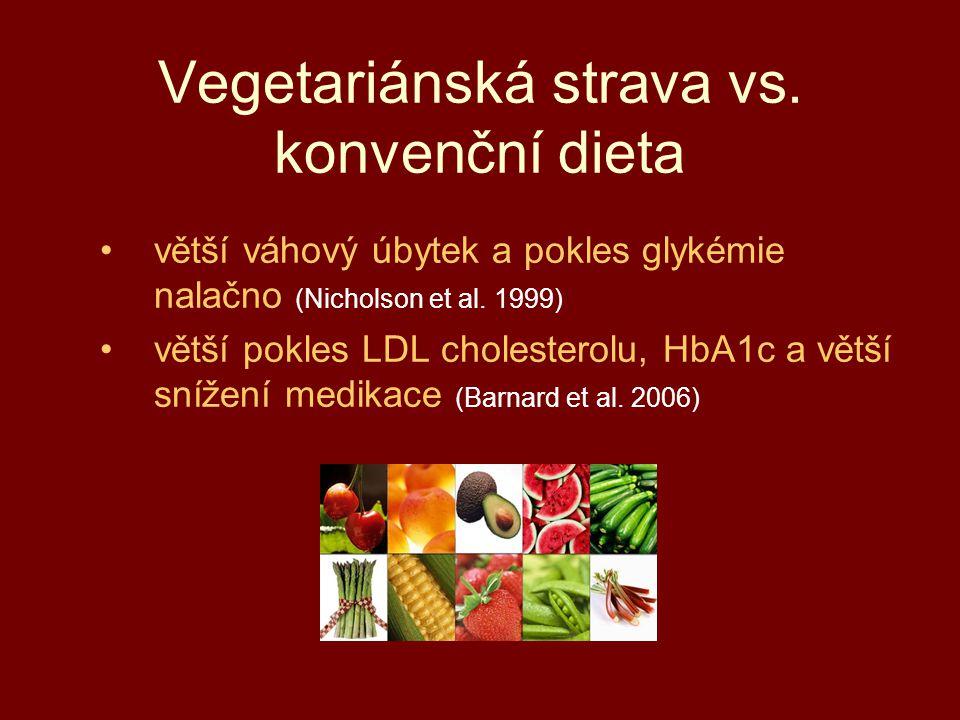 Vegetariánská strava vs. konvenční dieta větší váhový úbytek a pokles glykémie nalačno (Nicholson et al. 1999) větší pokles LDL cholesterolu, HbA1c a