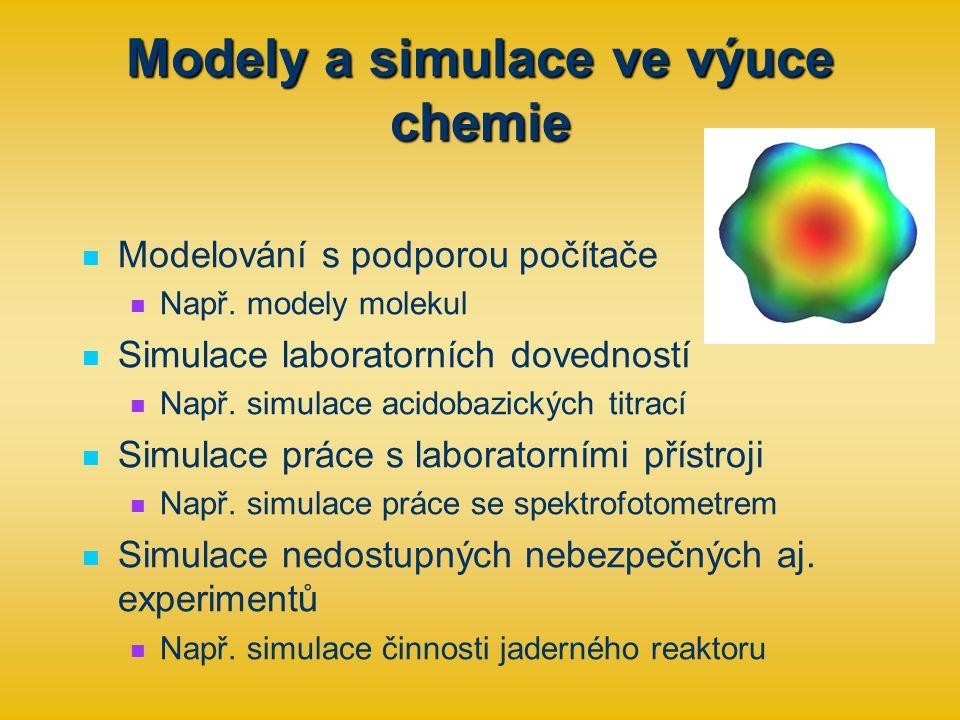 Modely a simulace ve výuce chemie Modelování s podporou počítače Např.