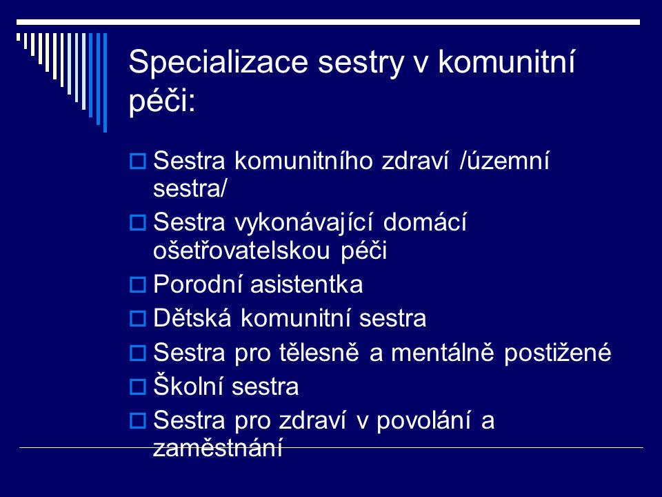 Specializace sestry v komunitní péči:  Sestra komunitního zdraví /územní sestra/  Sestra vykonávající domácí ošetřovatelskou péči  Porodní asistent