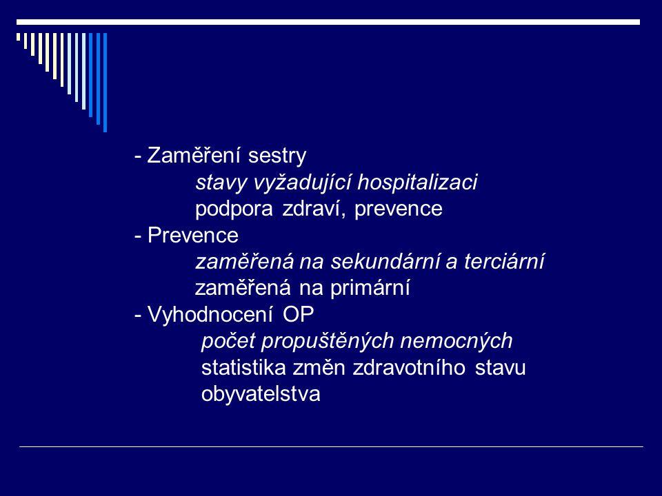 - Zaměření sestry stavy vyžadující hospitalizaci podpora zdraví, prevence - Prevence zaměřená na sekundární a terciární zaměřená na primární - Vyhodnocení OP počet propuštěných nemocných statistika změn zdravotního stavu obyvatelstva