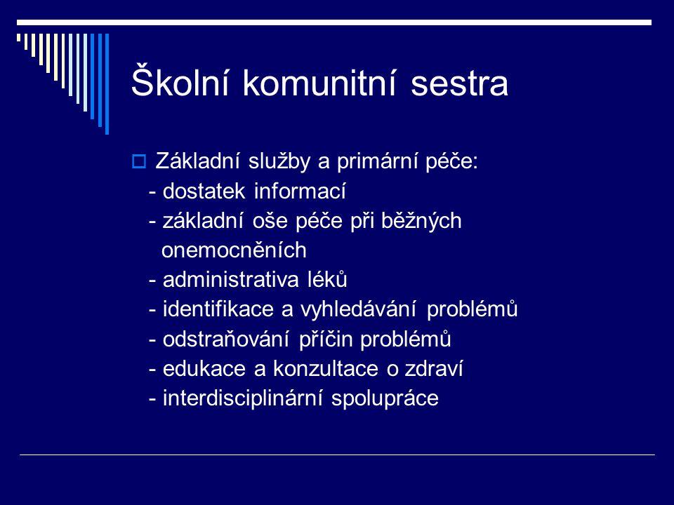 Školní komunitní sestra  Základní služby a primární péče: - dostatek informací - základní oše péče při běžných onemocněních - administrativa léků - identifikace a vyhledávání problémů - odstraňování příčin problémů - edukace a konzultace o zdraví - interdisciplinární spolupráce