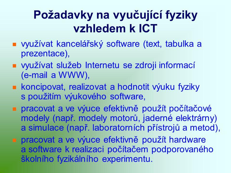 Požadavky na vyučující fyziky vzhledem k ICT využívat kancelářský software (text, tabulka a prezentace), využívat služeb Internetu se zdroji informací (e-mail a WWW), koncipovat, realizovat a hodnotit výuku fyziky s použitím výukového software, pracovat a ve výuce efektivně použít počítačové modely (např.