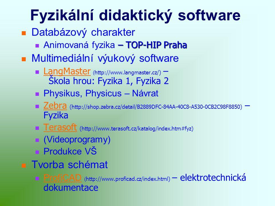 Fyzikální didaktický software Databázový charakter – TOP-HIP Praha Animovaná fyzika – TOP-HIP Praha Multimediální výukový software LangMaster ( http://www.langmaster.cz/) – Škola hrou: Fyzika 1, Fyzika 2 LangMaster Physikus, Physicus – Návrat Zebra (http://shop.zebra.cz/detail/B2889DFC-84AA-40C8-A530-0CB2C98F8850) – Fyzika Zebra Terasoft (http://www.terasoft.cz/katalog/index.htm#fyz) Terasoft (Videoprogramy) Produkce VŠ Tvorba schémat ProfiCAD ( http://www.proficad.cz/index.html) – elektrotechnická dokumentace ProfiCAD