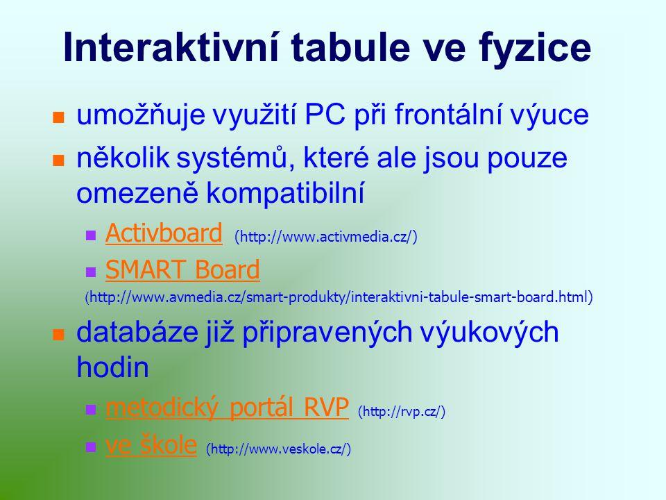 Interaktivní tabule ve fyzice umožňuje využití PC při frontální výuce několik systémů, které ale jsou pouze omezeně kompatibilní Activboard (http://www.activmedia.cz/) Activboard SMART Board ( http://www.avmedia.cz/smart-produkty/interaktivni-tabule-smart-board.html) databáze již připravených výukových hodin metodický portál RVP (http://rvp.cz/) metodický portál RVP ve škole (http://www.veskole.cz/) ve škole