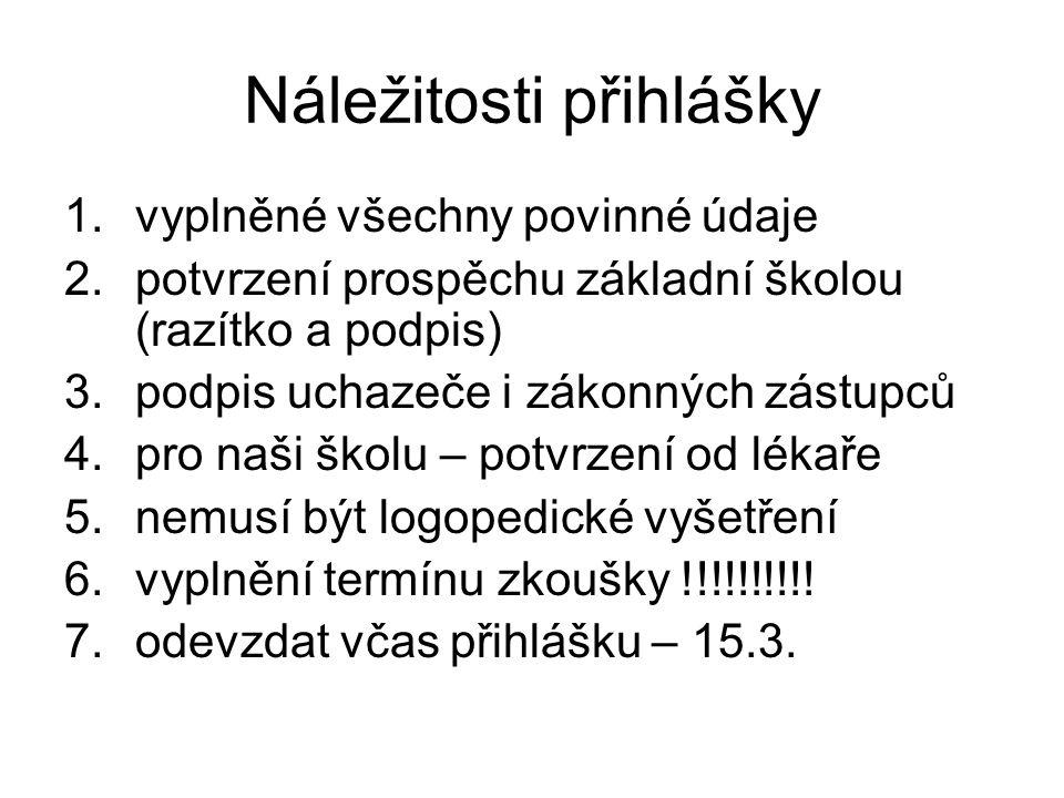 Kriteria přijímacího řízení PMP 1.prospěch na základní škole v 1.