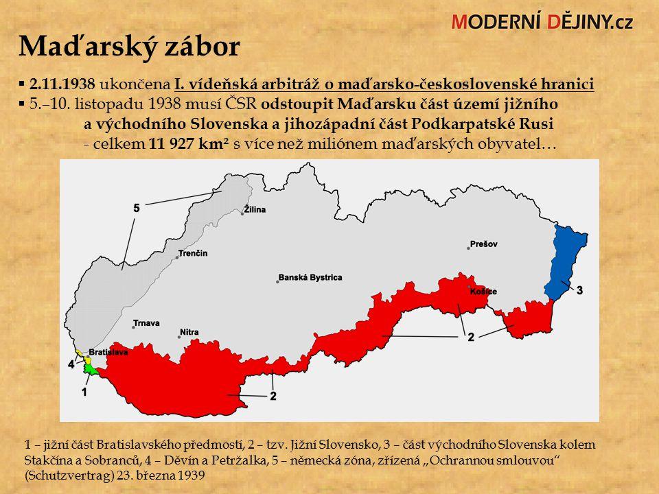 Maďarský zábor  2.11.1938 ukončena I. vídeňská arbitráž o maďarsko-československé hranici  5.–10. listopadu 1938 musí ČSR odstoupit Maďarsku část úz