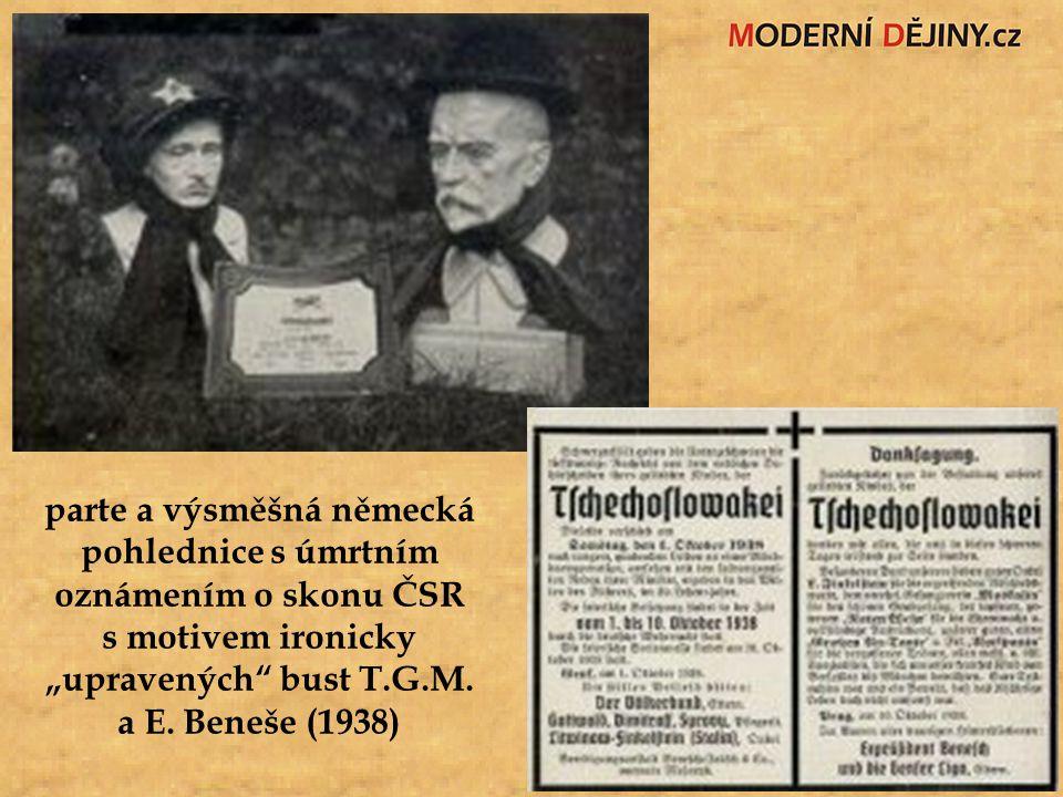 """parte a výsměšná německá pohlednice s úmrtním oznámením o skonu ČSR s motivem ironicky """"upravených"""" bust T.G.M. a E. Beneše (1938)"""