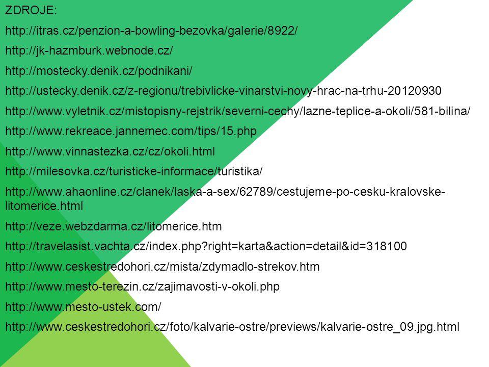 ZDROJE: http://itras.cz/penzion-a-bowling-bezovka/galerie/8922/ http://jk-hazmburk.webnode.cz/ http://mostecky.denik.cz/podnikani/ http://ustecky.deni