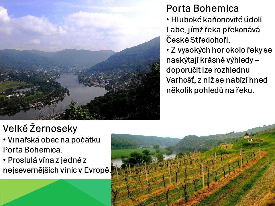 Porta Bohemica Hluboké kaňonovité údolí Labe, jímž řeka překonává České Středohoří. Z vysokých hor okolo řeky se naskýtají krásné výhledy – doporučit