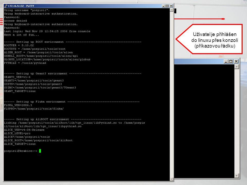Přihlášení do Linuxu Přihlášení z Windows do linuxu na vzdáleném počítači pomocí programu putty Uživatel je přihlášen do linuxu přes konzoli (příkazov